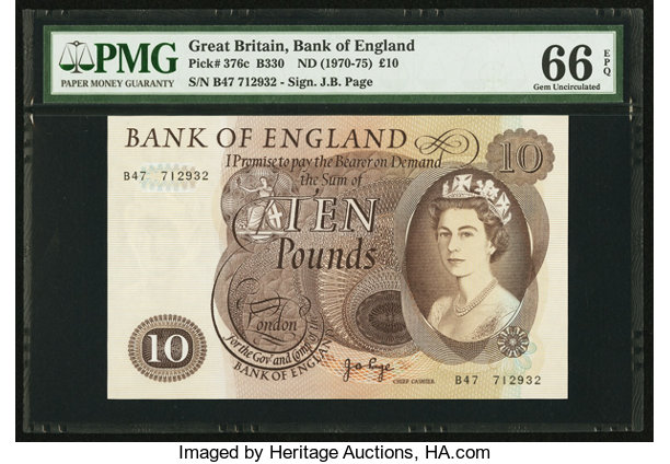 World Currency Great Britain Bank Of England 10 Nd 1970 75