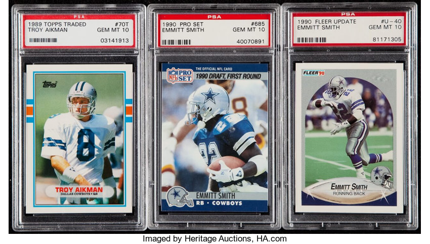 1989 90 Troy Aikman Emmitt Smith Psa Graded Rookie Trio