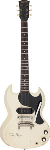 Music Memorabilia:Instruments , Tom Petty Played and Signed 1963 White Gibson SG Junior ElectricGuitar, Serial #100636....
