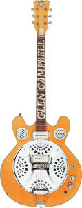Music Memorabilia:Instruments , Glen Campbell Personally Owned and Stage Played Dobro CalifornianResonator Guitar....