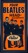 "Music Memorabilia:Posters, Beatles Rare Oversize Capitol Records ""Your Beatles Headquarters"" Promotional Poster (US, Circa 1964-1965)...."
