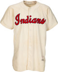Baseball Collectibles:Uniforms, 1952 Mike Garcia Game Worn Cleveland Indians Jersey & Pants, MEARS A8.5. ...