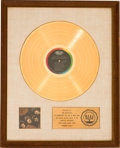 Music Memorabilia:Awards, Beatles Rubber Soul RIAA White Mat Gold Record Sales AwardPresented to the Group (Capitol T-2442, 1965)....