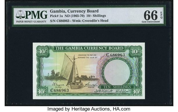 World Currency Gambia Board 10 Shillings Nd 1965 70 Pick
