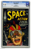 Golden Age (1938-1955):Science Fiction, Space Action #2 River City pedigree (Ace, 1952) CGC VF/NM 9.0Off-white pages. You're looking at a spaceman's visor, and ref...
