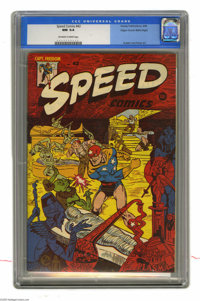 Speed Comics #42 Mile High pedigree (Harvey, 1946) CGC NM 9.4 Off-white to white pages. This issue boasts a Rudy Palais...