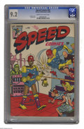 """Golden Age (1938-1955):Superhero, Speed Comics #43 (Harvey, 1946) CGC NM- 9.2 Cream to off-white pages. Attention """"robot cover"""" enthusiasts, this Harvey book ..."""