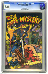 Super-Mystery Comics V6#3 (Ace, 1946) CGC VF 8.0 Off-white pages. The cover is the point of interest here -- a guillotin...