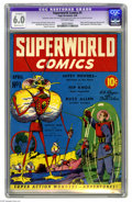 "Golden Age (1938-1955):Science Fiction, Superworld Comics #1 (Hugo Gernsback, 1940) CGC Apparent FN 6.0Moderate (P) Off-white pages. This issue is a Gerber ""7"" whi..."