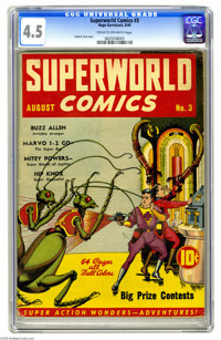 Superworld Comics #3 (Hugo Gernsback, 1940) CGC VG+ 4.5 Cream to off-white pages. We're pleased to offer the complete th...
