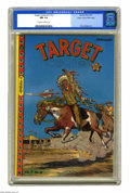 Golden Age (1938-1955):Miscellaneous, Target Comics V7#12 Mile High pedigree (Novelty Press, 1947) CGC NM 9.4 Off-white to white pages. This eye-catching Western-...