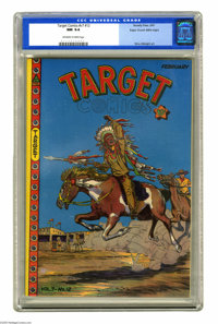 Target Comics V7#12 Mile High pedigree (Novelty Press, 1947) CGC NM 9.4 Off-white to white pages. This eye-catching West...