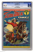Golden Age (1938-1955):Western, Tom Mix Comics #1 (Ralston-Purina Co., 1940) CGC VG+ 4.5 Off-whiteto white pages. Here's a book that was featured on the wa...