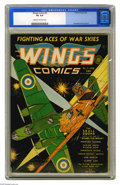 Golden Age (1938-1955):War, Wings Comics #6 (Fiction House, 1941) CGC VG 4.0 Cream to off-whitepages. Gene Fawcette cover and art. Overstreet 2005 VG 4...