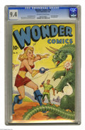 """Golden Age (1938-1955):Science Fiction, Wonder Comics #18 (Better Publications, 1948) CGC NM 9.4 Off-white to white pages. Alex Schomburg (as """"Xela"""") used his airbr..."""