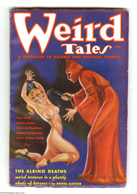 Weird Tales (Pulp) March 1936 (Popular Fiction, 1936) Condition: Apparent VG/FN. A hooded sadist in red whips a shackled...