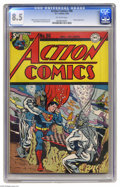Golden Age (1938-1955):Superhero, Action Comics #96 (DC, 1946) CGC VF+ 8.5 Off-white pages. This issue's underwater cover is from the drawing board of Wayne B...