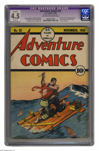 Adventure Comics #32 (DC, 1938) CGC Apparent VG+ 4.5 Slight (A) Light tan to off-white pages. One of DC's first series...