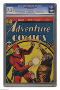 """Golden Age (1938-1955):Superhero, Adventure Comics #67 (DC, 1941) CGC VF- 7.5 Off-white pages. Jack Burnley got his just deserts with a """"classic cover"""" design..."""