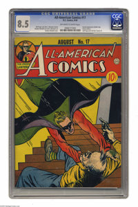 All-American Comics #17 (DC, 1940) CGC VF+ 8.5 Off-white to white pages. DC icon Green Lantern made his second-ever appe...