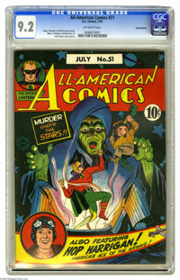 All-American Comics #51 Pennsylvania pedigree (DC, 1943) CGC NM- 9.2 Off-white pages. Topping CGC's census by a wide mar...