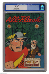 All-Flash #18 (DC, 1945) CGC VF 8.0 Off-white pages. While the comics of All-American Publications carried the DC logo m...