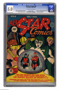 All Star Comics #8 (DC, 1942) CGC VG/FN 5.0 Off-white to white pages. Why is this issue on Overstreet's list of the 30 m...