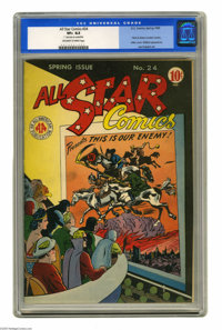 All Star Comics #24 (DC, 1945) CGC VF+ 8.5 Off-white to white pages. We've seen Hitler covers before, but why is Otto vo...