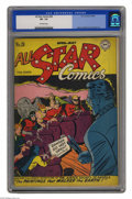 """Golden Age (1938-1955):Superhero, All Star Comics #28 (DC, 1946) CGC VF- 7.5 Off-white pages. They say that great artists make their paintings """"come to life,""""..."""