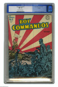 Golden Age (1938-1955):War, Boy Commandos #9 Hawkeye pedigree (DC, 1944) CGC NM- 9.2 Off-white to white pages. Simon and Kirby were never lacking for an...