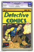 Golden Age (1938-1955):Crime, Detective Comics #14 (DC, 1938) CGC Apparent VF 8.0 Moderate (P) Off-white pages. This is only the second time we've gotten ...