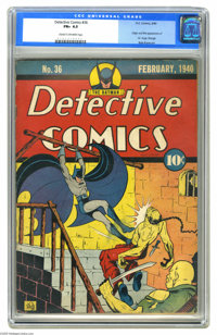 Detective Comics #36 (DC, 1940) CGC FN+ 6.5 Cream to off-white pages. A blue label is a welcome sight here, as it seems...