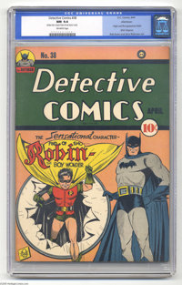 Detective Comics #38 Allentown pedigree (DC, 1940) CGC NM 9.4 Off-white pages. The fourth most valuable issue in the ill...