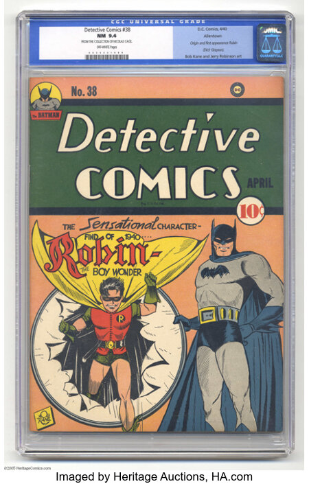 Detective Comics #38 Allentown pedigree (DC, 1940) CGC NM 9.4 Off-white pages. The fourth most valuable issue in the illustr...