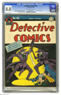 Golden Age (1938-1955):Superhero, Detective Comics #85 (DC, 1944) CGC VF 8.0 Off-white to white pages. Two Mirthful Menaces? Two Grim Jesters? Two Brazen Buff...