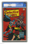 Golden Age (1938-1955):Superhero, Detective Comics #132 Mile High pedigree (DC, 1948) CGC NM 9.4 Off-white to white pages. This issue's villain the Human Key ...