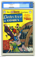 """Golden Age (1938-1955):Superhero, Detective Comics #154 (DC, 1949) CGC VF 8.0 Off-white to white pages. In this issue, Batman and Robin bust up an """"Undergroun..."""