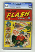 Golden Age (1938-1955):Superhero, Flash Comics #6 (DC, 1940) CGC FN 6.0 Off-white pages. It seems incredible, but issue #6 was only the second time the Flash ...