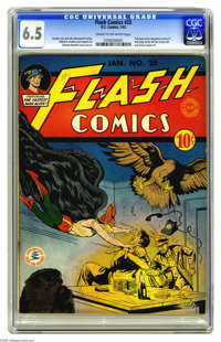 Flash Comics #25 (DC, 1942) CGC FN+ 6.5 Cream to off-white pages. The lush rendering of Hawkman's wings as seen on this...