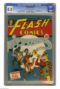 Flash Comics #59 (DC, 1944) CGC VF 8.0 Off-white to white pages. We've heard of taking notes, but how about taking notes...
