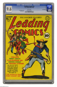Leading Comics #5 San Francisco pedigree (DC, 1942) CGC NM+ 9.6 White pages. The Seven Soldiers of Victory were the supe...