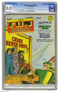 More Fun Comics #89 (DC, 1943) CGC VF 8.0 Off-white to white pages. The Green Arrow and Speedy practice their archery sk...