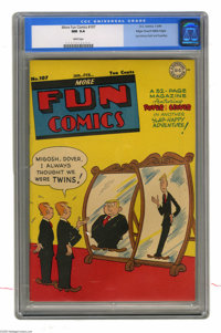 More Fun Comics #107 Mile High pedigree (DC, 1946) CGC NM 9.4 White pages. This was the last superhero issue of this tit...