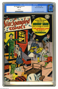 Star Spangled Comics #14 Mile High pedigree (DC, 1942) CGC NM 9.4 White pages. Simon and Kirby's Newsboy Legion (and the...