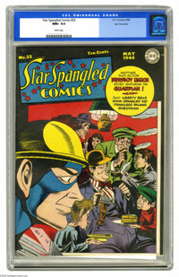 Star Spangled Comics #32 San Francisco pedigree (DC, 1944) CGC NM+ 9.6 White pages. What is the Newsboy Legion (Tommy, B...