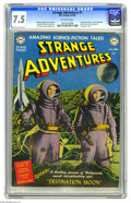 "Golden Age (1938-1955):Science Fiction, Strange Adventures #1 (DC, 1950) CGC VF- 7.5 Off-white pages. Anunusual ""colorized"" photo cover made this issue stand out -..."