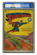 Golden Age (1938-1955):Superhero, Superman #3 (DC, 1940) CGC FN+ 6.5 Cream to off-white pages. While Superman couldn't yet fly when this early issue came out,...