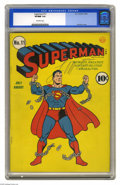 Golden Age (1938-1955):Superhero, Superman #11 (DC, 1940) CGC VF/NM 9.0 Off-white pages. Though later decades had Superman moving mountains, pushing planets a...