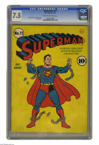 Superman #11 (DC, 1940) CGC VF- 7.5 Cream to off-white pages. Most of this title's earliest covers were models of simpli...