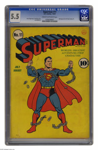 """Superman #11 (DC, 1940) CGC FN- 5.5 Cream to off-white pages. Fred Ray's cover, with the """"Man of Steel"""" breaki..."""